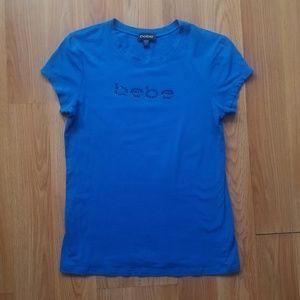 Blue Bedazzled bebe Short Sleeve T-shirt